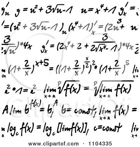 Seamless Math Formulas Written On White Posters, Art