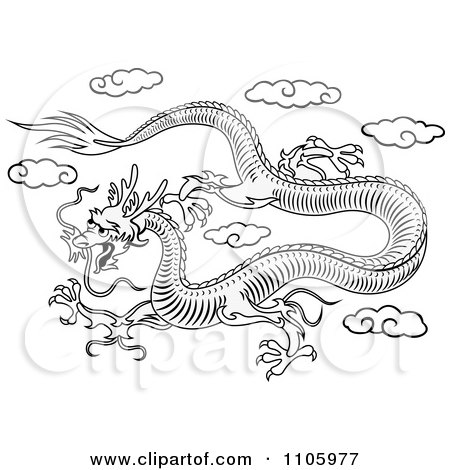 Clipart Black And White Chinese Dragon Flying In The Sky
