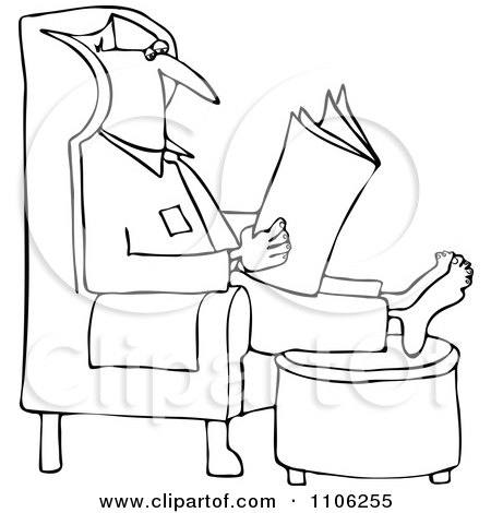 Cartoon of an Outlined Man Wearing Glasses and Reading a