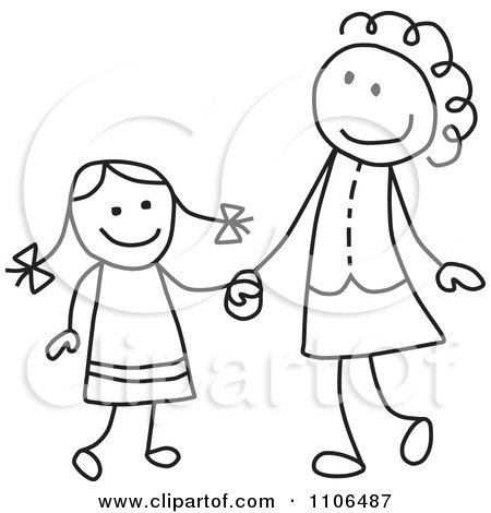Clipart Black And White Stick Drawing Of A Mother Scolding