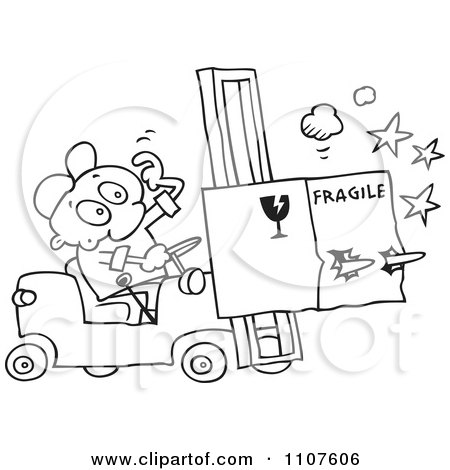 Clipart Outlined Distracted Forklift Driver Running Over A