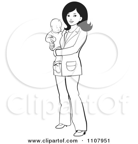 Clipart Silhouetted Mother And Daughter Over A Black Heart