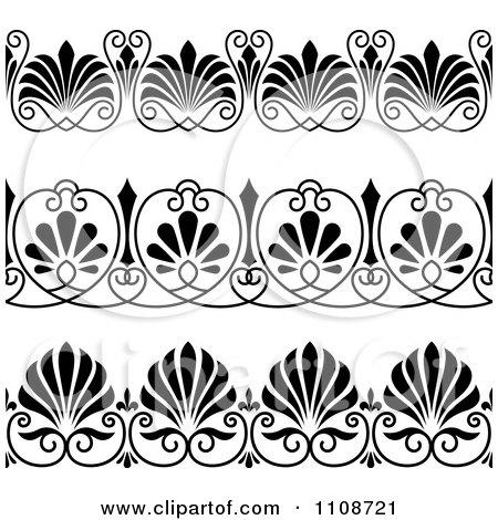 Clipart Black And Whtie Art Deco Border Design Elements 2