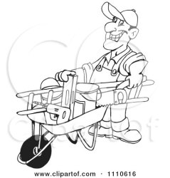 tools clipart handy yard barrow pushing wheel friendly clueless weed while illustration royalty wacking waving flowers posters prints rf holmes