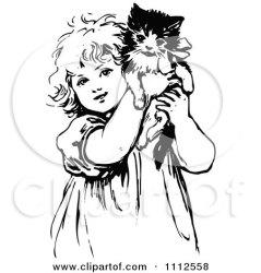 cute cat clipart retro holding kitten illustration drawing cartoon kittens basket cats vector woman draw royalty hugging clip prawny victorian