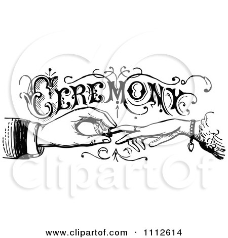 Clipart Vintage Black And White Wedding Ceremony Sign With