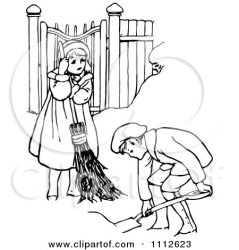 clipart chores children snow shoveling retro mom household clip playing yard royalty baby print cartoon poster illustration woman brother digital