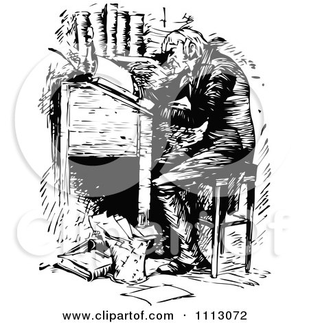 Clipart Ebenezer Scrooge Working At A Desk Royalty Free