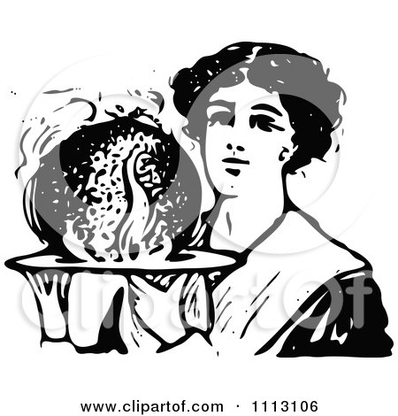 Clipart Vintage Black And White Woman Holding Christmas