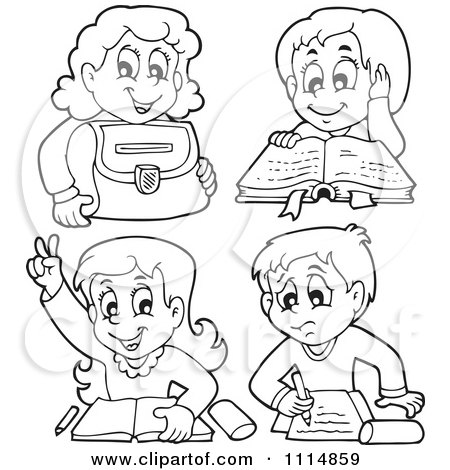 Outlined School Children Reading And Doing Homework