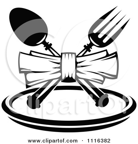 Clipart Of A Black And White Chef Holding A Menu Board