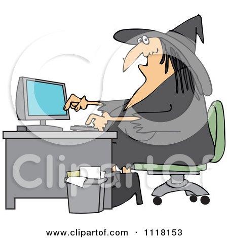 Cartoon Of A Halloween Vampire Using A Computer At An
