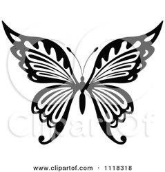 butterfly clipart vector illustration royalty cartoon clip graphics drawing line seamartini butterflies clipartof rf logos tattoo stencil tradition sm stencils