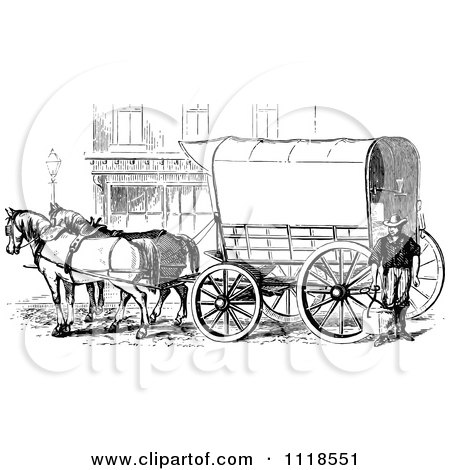 Clipart of a Black and White Retro Pioneer Covered Wagon