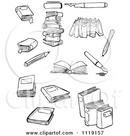 School Cartoon Of A Black And White Books And Writing