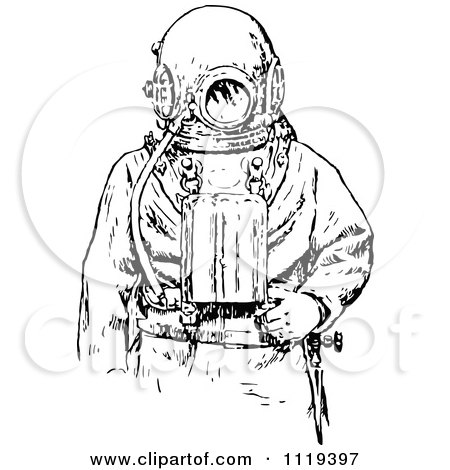 Clipart Of A Retro Vintage Black And White Deep Sea Diver
