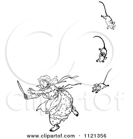 Clipart Of A Retro Vintage Black And White Woman Running