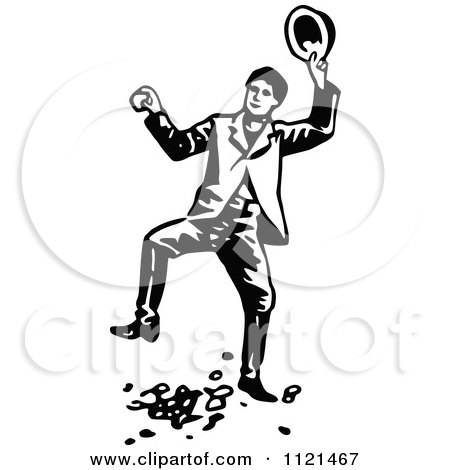 Clipart Of A Retro Vintage Black And White Klondiker Gold