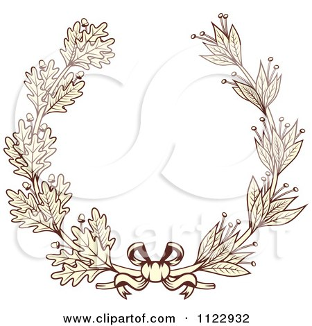 Clipart Of A Vintage Sepia Oak And Laurel Wreath 2