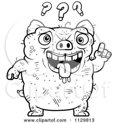 Cartoon Clipart Of A Black And White Confused Girl
