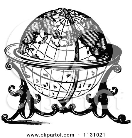 Clipart of a Black and White Vintage Floating Globe