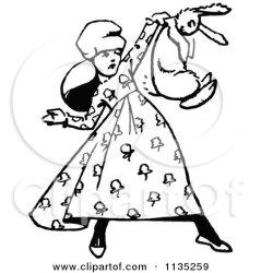 rabbit retro clipart holding running vector illustration bunnies royalty prawny