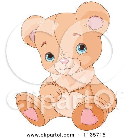 Cartoon Of A Cute Valentine Teddy Bear Couple Hugging