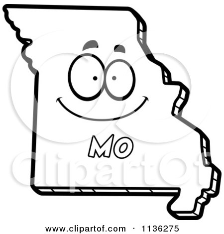 Cartoon Clipart Of An Outlined Happy Missouri State