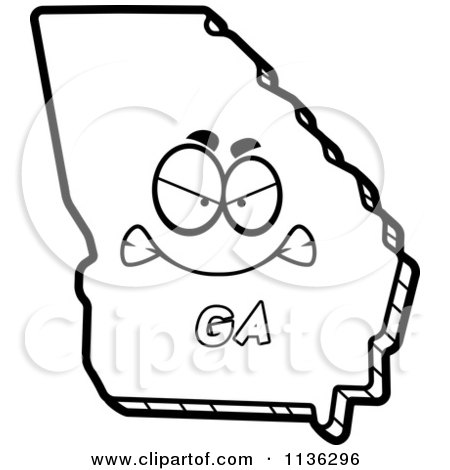 Cartoon Clipart Of An Outlined Mad Georgia State Character