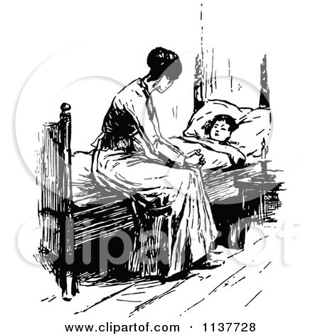 Clipart Of A Retro Vintage Black And White Mother Watching