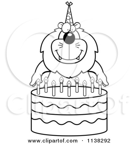 Cartoon Clipart Of An Outlined Lion Making A Wish Over