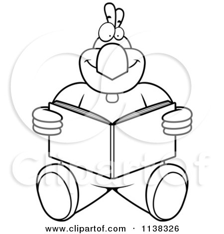 Cartoon Clipart Of An Outlined Chicken Sitting And Reading