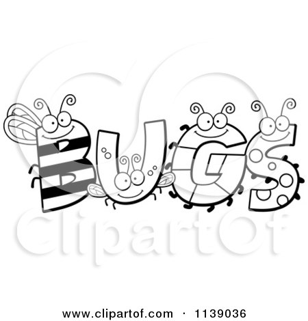Cartoon Clipart Of Black And White Insect Letters Spelling