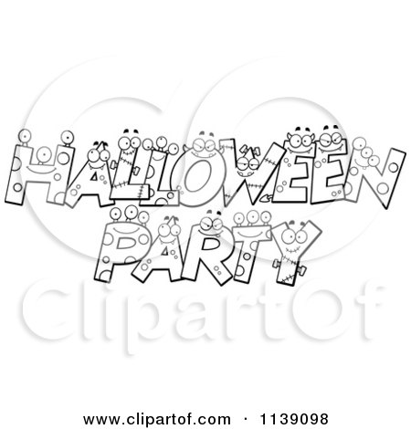 Cartoon Clipart Of Black And White Halloween Party Letter