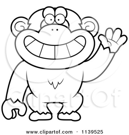 Cartoon Clipart Of A Black And White Friendly Waving Chimp