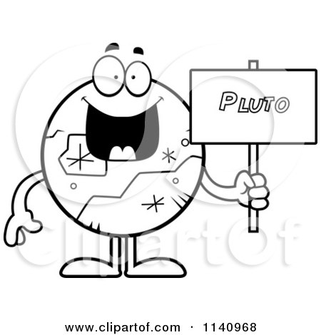 Cartoon Clipart Of A Black And White Smiling Pluto