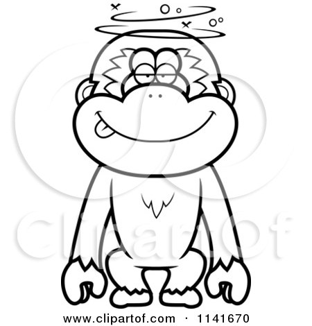 Cartoon Clipart Of A Black And White Drunk Or Dumb Gibbon