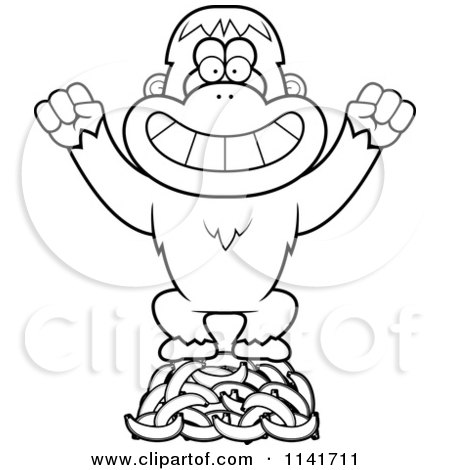 Cartoon Clipart Of A Black And White Orangutan Monkey
