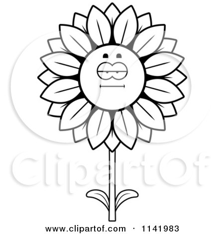 Cartoon Clipart Of A Black And White Sunflower Character