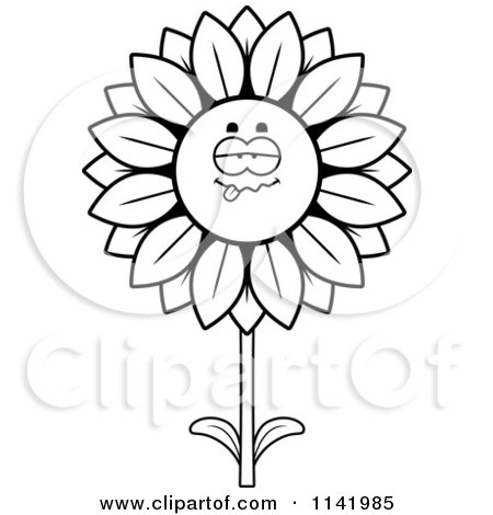 clipart happy smiling sunflower