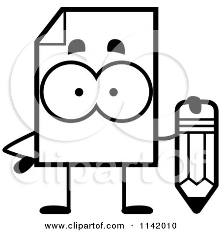Cartoon Clipart Of A Black And White Document Mascot