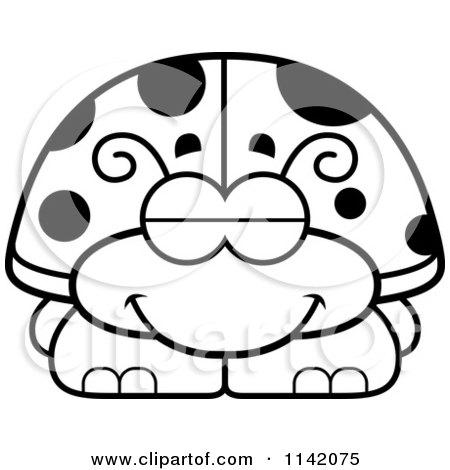 Cartoon Clipart Of A Black And White Sleeping Ladybug