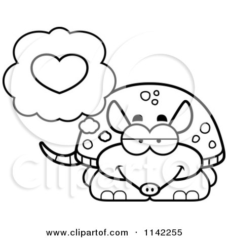 Cartoon Clipart Of A Black And White Armadillo In Love