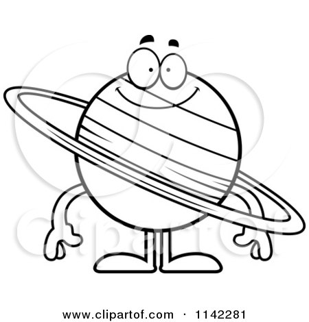 Cartoon Clipart Of A Black And White Loving Planet Saturn