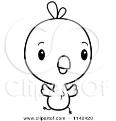 chick baby cute cartoon clipart coloring vector running outlined cory thoman regarding notes clipartof royalty