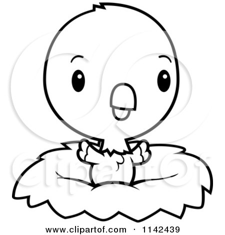 Cartoon Clipart Of A Black And White Cute Baby Parrot In A