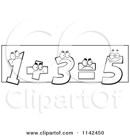 Cartoon Clipart Of Black And White One And Three Adding Up