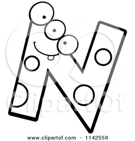Cartoon Clipart Of A Black And White Alien Letter N