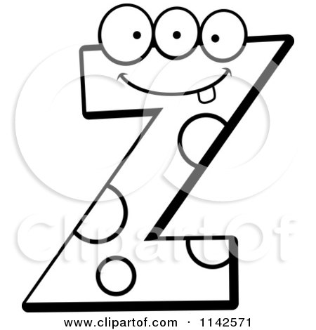 Cartoon Clipart Of A Black And White Alien Letter Z