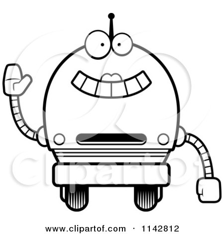 Cartoon Clipart Of A Black And White Waving Robot Girl